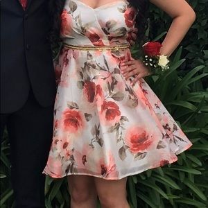 Short floral prom dress strapless